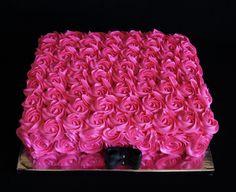 Modern Baby Shower Sheet Cakes | PINK BUTTERCREAM ROSETTE SHEET CAKE