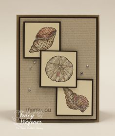 SU! By the Seashore and Made for You (sentiment) stamp sets; Early Espresso, Crumb Cake and Calypso Coral ink; Crum Cake, Early Espresso, Very Vanilla cardstock; Neutrals DSP Paper Stack - Tracy Wegener for Paper Crafter's Library
