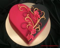 Red and black heart cake - For all your cake decorating supplies, please visit… Heart Shaped Birthday Cake, Heart Shaped Cakes, Heart Cakes, Birthday Cakes, Half Birthday, Gorgeous Cakes, Pretty Cakes, Cute Cakes, Amazing Cakes