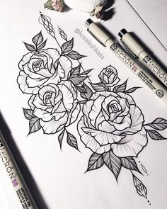 Als Melhores Tattoos de Pet - diy tattoo images - Kunst Diy Tattoo, Form Tattoo, Shape Tattoo, Flower Tattoo Drawings, Flower Tattoo Designs, Tattoo Sketches, Drawings Of Tattoos, Flower Design Drawing, Tattoo Roses