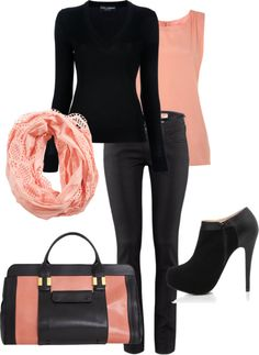 """""""Black and Peach Casual"""" by djgauh ❤ liked on Polyvore"""