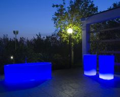 Indoor/outdoor bathtub available in various light up colors