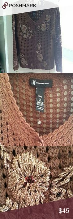 INC Cardigan New with tags. 100% light brown pretty color embroidered gold flowers with sequins. Beautifully detailed. Xtra button and yarn. INC International Concepts Sweaters Cardigans