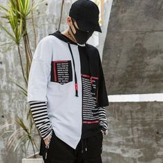 """""""Yang"""" Hip-hop Hoodies - Men's style, accessories, mens fashion trends 2020 Hip Hop Outfits, Hipster Outfits, Dance Outfits, Urban Outfits, Tomboy Outfits, Mode Streetwear, Streetwear Fashion, Black And White Hoodies, Black White"""