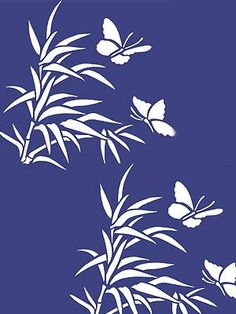 Bamboo and Butterfly Stencil. stencil Bamboo and Butterfly Stencil - Henny Donovan Motif Stencil Patterns, Stencil Art, Stencil Designs, Mosaic Patterns, Stenciling, Motif Simple, Butterfly Stencil, Japanese Flowers, China Art
