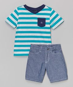 Another great find on #zulily! Aqua Stripe Tee & Blue Shorts - Infant, Toddler & Boys by Calvin Klein Jeans #zulilyfinds