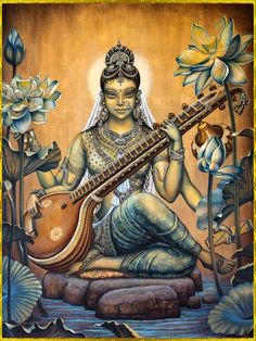 Beautiful painting of Mother Saraswati. I love how she is more focused, more don't mess with my art, in this image. We all need to stand up for that sometimes. ~Marie