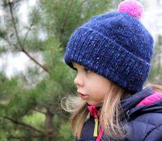 Kids winter knitted hat / Girls  pom pom by HatsAndOtherStories