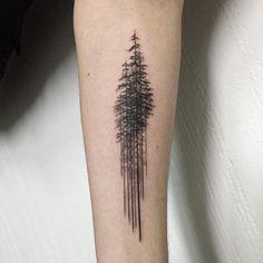pine tree  나무들  #pinetreetattoo #treetattoo #blacktattoo #tattoowork #tattoo…