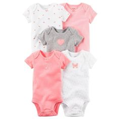 Baby Girl Carter's 5-pk. Print & Graphic Bodysuits, Size: 24 Months, Pink