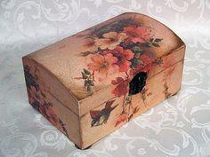 Decoupage jewelry box mini commode  Romance   by HandmadeDecoupage