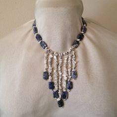 Waterfall necklace Beautiful blue Sodalite and Howlite waterfall necklace. Hand strung on silk thread. Delicate clasp. EG Jewelry Necklaces