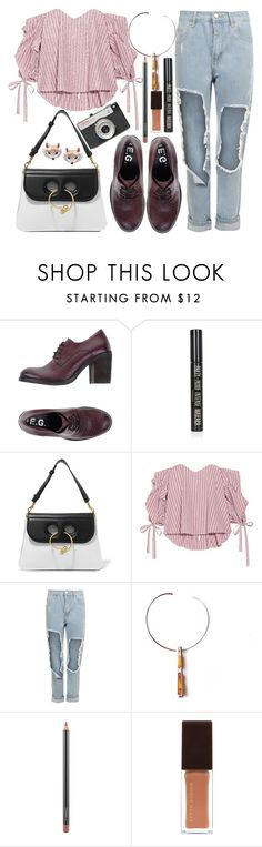 """""""Waking up in the fog"""" by karllydolly ❤ liked on Polyvore featuring E.G.J., Topshop, J.W. Anderson, Caroline Constas, WearAll, MAC Cosmetics, Kevyn Aucoin, LØMO and Ross-Simons"""