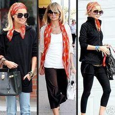 Nicole Richie sporting three stylish looks using the Alexander McQueen Skull Scarf in pure silk. Nicole Richie, Ways To Wear A Scarf, How To Wear Scarves, Wearing Scarves, Looks Chic, Looks Style, Look Fashion, Autumn Fashion, Womens Fashion