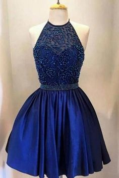 AHC121 Newest Royal Blue Beading Halter Homecoming Dresses 2017