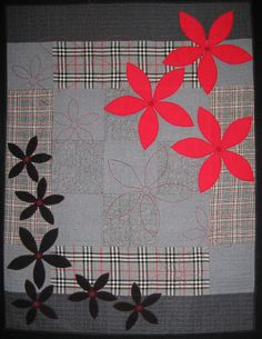 Quilt made from recycled wool blankets by Irene Anderton (New Zealand) . . .  I'm thinking denim and flannel plaid . . .