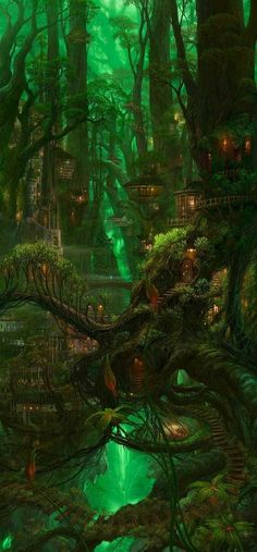 Fantasy Magic, Elves Fantasy, Fantasy Forest, Fantasy City, Fantasy House, Fantasy Places, Fantasy World, Fantasy Fairies, Anime Fantasy