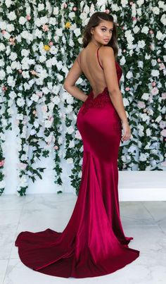 0f5f90a60c Gorgeous Spaghetti Straps Red Prom Dress Backless Evening Gown Backless Prom  Dresses