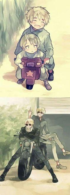 Then and Now / America & England / Hetalia Anime Meme, Manga Anime, Fanarts Anime, Anime Art, Manga Girl, Anime Girls, Anime Characters, Hetalia Funny, Hetalia Fanart