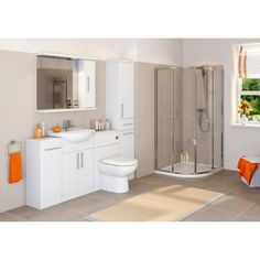 Essentials White Gloss Vanity Unit, Basin & Toilet - 1050mm Width (Compact Range) | Essentials 5060184436724