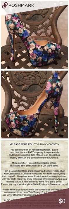 The Jazzy Floral Platform Heel Stiletto Gorgeous Stiletto Platform Floral Design Named Jazzy Size 8.5 and 6.5 available. Please see my other items. Bundle 3 or more and receive a 15% discount. Thank you for browsing my closet. Shoes Platforms