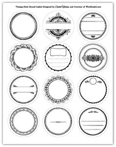 VINTAGE: Spectacular round printable vintage labels in six colors. 12 assorted designs. Use for Favors tags and labels  Designed by Cathe Holden of justsomethingimade.com. FREE download World Labels