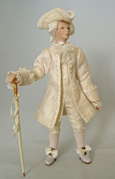 Miniature doll by La Belle Brigante. Gentleman in 18th century style.