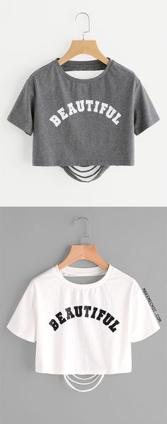 07e1ac81496 Letter Print Ripped Back Crop Heathered T-shirt Summer Chic