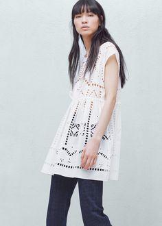 Vestido calado algodón | MANGO