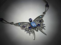 Sterling Silver and Blue Drusy Butterfly by PKDesignerJewelry, $649.00