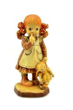 """ANRI Sarah Kay 4"""" BEDTIME Little Girl & Baby Doll Carved Wood Figurine Italy"""