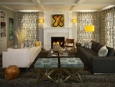 Greys with Splashes of Lemon Yellow make this family room comfy and warm - O Interior Design  Denver, CO