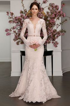 Blush la vie en rose lace wedding dress with deep V neckline. Legends Romona Keveza Spring 2017 Bridal Collection, Bridal Fashion Week