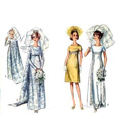 1960s Wedding dress or evening dress sewing pattern by HeyChica, $15.99