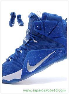 low priced f9b8a 0b750 tenis de marca barato Masculino 684593-024 Nike Lebron 12 EP Royal Azul  Branco