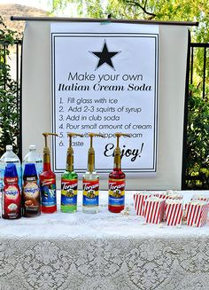 Make your own Italian Cream Soda Bar and throw an end of summer out door movie night! Tips and ideas on www.thirtyhandmadedays.com