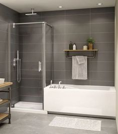 diy bathroom remodel ideasiscertainly important for your home. Whether you choose the bathroom remodel shiplap or upstairs bathroom remodel, you will create the best bathroom remodeling ideas for your own life. bathroom remodel on a budget bathtub ModulR Bathroom Tub Shower, Shower Doors, Bath Tubs, Shower Tiles, Master Shower, Bathroom With Shower And Bath, Large Tile Bathroom, Bathtub Shower Combo, Kohler Bathroom