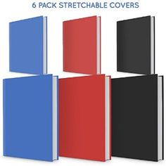 6 PACK Book Cover Stretchable and Great value text book covers in 3 colours and medium and large size book sox style cover for hardcover textbooks UNIV $10
