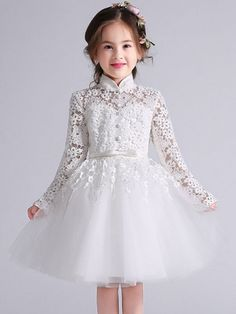 Princess Long Sleeve Tulle Hollow Out Lace Applique Girl's Flower Wedding Dress Baby Girl Party Dresses, Little Girl Dresses, Girls Dresses, Tulle Flower Girl, Flower Girl Dresses, Flower Girls, Wedding Dresses With Flowers, Dress Wedding, Dress Anak