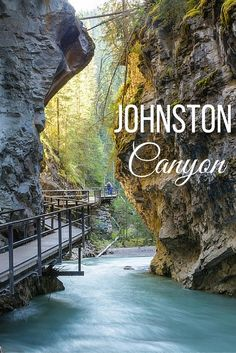Johnston Canyon, Alberta: A spectacle in every season Johnston Canyon near Banff, Alberta is a spectacular place to visit year round. Summer means gorgeous pathways and crystal clear water, while winter brings frozen waterfalls. Oh The Places You'll Go, Places To Travel, Travel Destinations, Places To Visit, Travel Tourism, Travel Agency, Calgary, Montreal, Vancouver