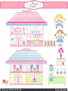 doll house clip art , girl clip art , Digital clip art. for all use,Doll house, rag doll , instant download clip art