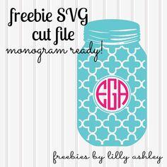 free svg mason jar for monograms