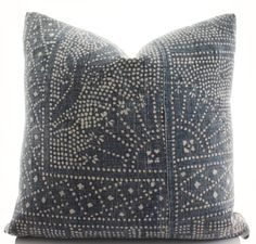 This pillow cover is made to order and sewn from a vintage piece of a Chinese handmade, batik textile. If you order a pair, the additional pillow