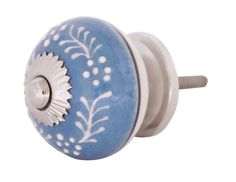 Bulk Wholesale Handmade Round Knobs / Pulls (Set of 2) in Ceramic & Metal for Drawers / Dressers / Cabinets – Decorated with White Traditional Patterns on Blue Color Base – Ethnic-Look Home Décor
