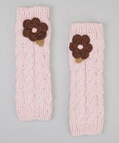 Take a look at this Light Pink Flower Leg Warmers by Marili Jean on #zulily today!