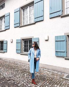Baby blue Coat Blue Coats, Winter Wardrobe, Baby Blue, Mom Jeans, Pants, Fashion, Slip On, Hipster Stuff, Capsule Wardrobe Winter
