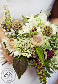 Rustic wedding bouquet recipe:  Sedum  Blushing bride protea  Sweet peas  Lysimachia(veronica)  Feverfew  Brunia (silver)  Scabiosa pods  Coleus leaves  Poke sallet weed berries(indigenous of Georgia)  Burgandy scabiosa