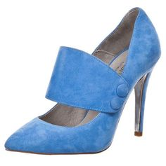 Zalando Collection blue suede shoes with wide strap