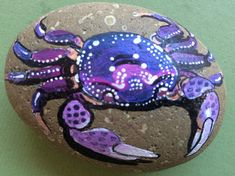 Your place to buy and sell all things handmade Crab Painting, Pebble Painting, Stone Painting, Diy Painting, Fabric Painting, Rock Painting Patterns, Rock Painting Ideas Easy, Rock Painting Designs, Stone Crafts