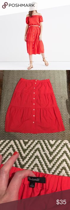 Madewell Bistro Midi Skirt *SHIPS SAME DAY* Fun bright red button front Midi skirt. Worn twice. In perfect condition. Madewell Skirts Midi
